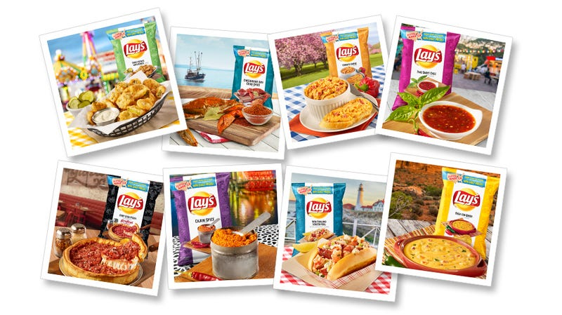 Illustration for article titled Lay's releases 8 new regional chip flavors, like Deep Dish Pizza and Lobster Roll