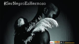 "The campaign included 15 photos of Afro-Colombians shot low-key, which yields the entire photo in various shades of black. The man seen in this photo, ""the black angel,"" in some ways spotlights some of the stereotypes of black men as having vitality, strength and virility.Edgar Garcés"