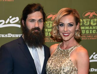 Television personalities Jep Robertson and Jessica Robertson attend the Duck Commander Musical premiere at the Crown Theater at the Rio Hotel & Casino on April 15, 2015, in Las Vegas.Ethan Miller/Getty Images