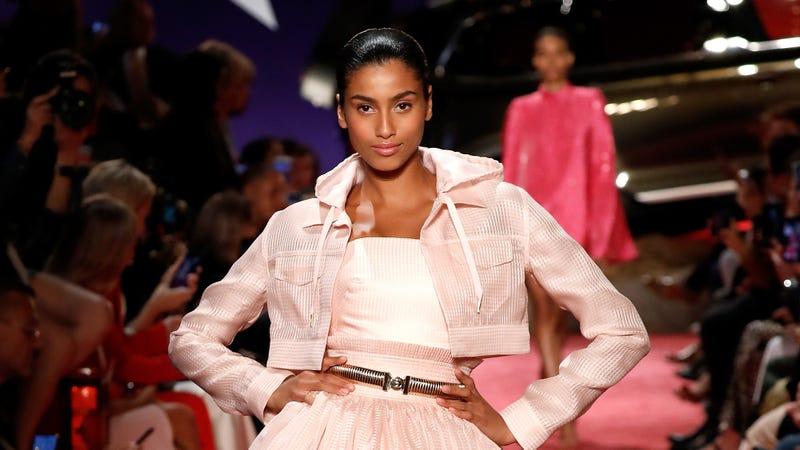 Imaan Hammam walks the runway at Brandon Maxwell during New York Fashion Week  on September 8, 2018 in New York City.