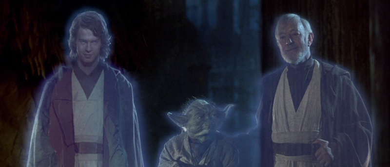Yoda, Obi-Wan, and a younger Anakin coalesce before Luke after the Battle of Endor.