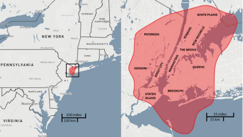 El área de destrucción que provocó el evento Tunguska en 1908, sobrepuesto a la ciudad de Nueva York. Si ocurriera, las bajas en la ciudad sobrepasarían los 10 millones de personas.