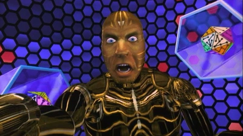 The Lawnmower Man's Jeff Fahey, upon discovering his Oculus Rift goggles are at 5% power