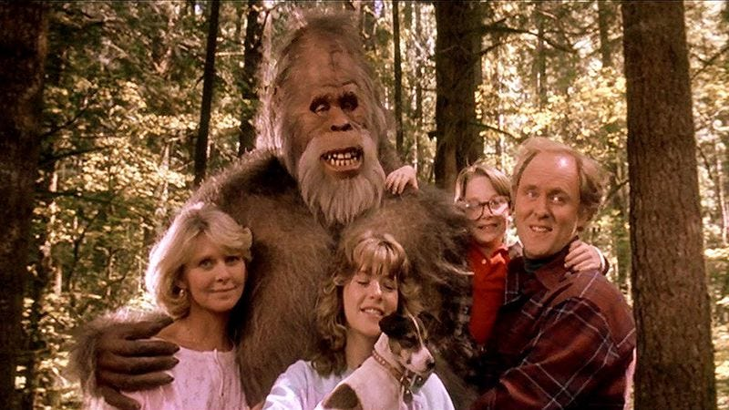 Screenshot: Harry And The Hendersons. In this 1987 film, a small boy is devoured by his enormous glasses. Lithgow appears well aware that this is not his finest work.