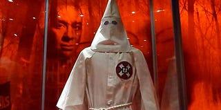 A Ku Klux Klan uniform on display in Washington, D.C., in 2011 (Karin Zeitvogel/AFP/Getty Images)