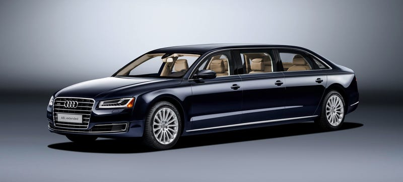Illustration for article titled This Gigantic Audi A8L Extended Limo Has A Surprisingly Decent 0-60 Time