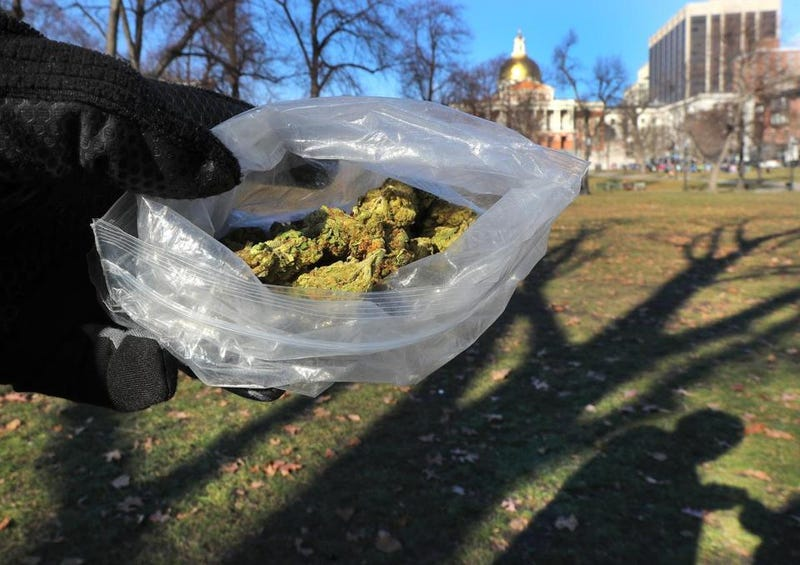 A marijuana seller in Boston Common displays what's for saleBoston Globe screenshot
