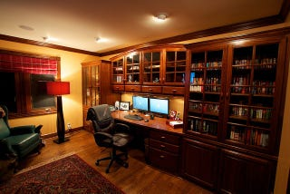 Illustration For Article Titled Built Ins And Earth Tones: A Traditional  Home Office