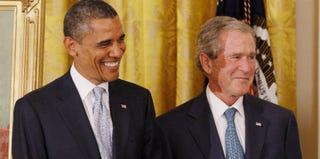 Barack Obama and George W. Bush (Chip Somodevilla/Getty Images)