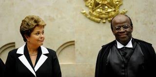Brazilian President Dilma Rousseff and Supreme Court Judge Joaquim Barbosa (Evaristo Sa/AFP/Getty Images)