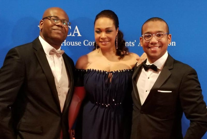The Root Political Editor Jason Johnson, The Glow Up Managing Editor Maiysha Kai and The Root Senior Video Producer Alex Clark attend the White House Correspondents' Dinner at the Washington Hilton in Washington, D.C., on April 28, 2018.
