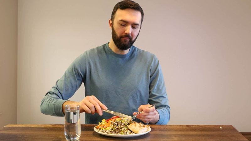 Illustration for article titled Health Scare Prompts Man To Start Overeating Healthier