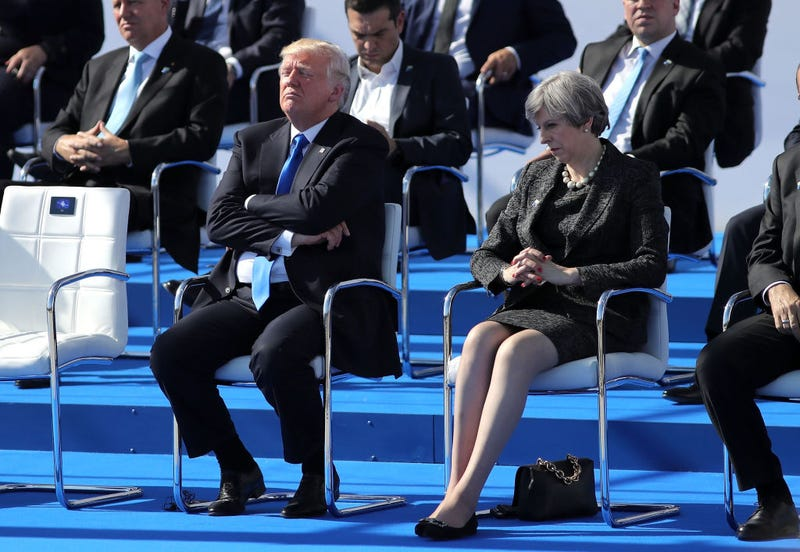 President Donald Trump and British Prime Minister Theresa May at a NATO summit meeting May 25, 2017, in Brussels (Dan Kitwood/Getty Images)