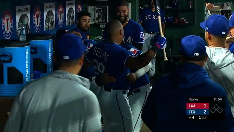 Illustration for article titled Adrian Beltre Crushes Homer, Gets His Head Touched, Reacts Accordingly