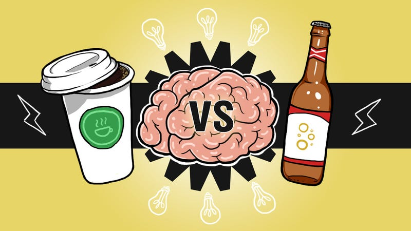 Illustration for article titled Drink Beer for Big Ideas, Coffee to Get Them Done