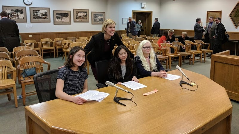 Luca (left), Lola (middle), and Athena (right) address the Oregon House Committee on Rules in support of the state's net neutrality bill.