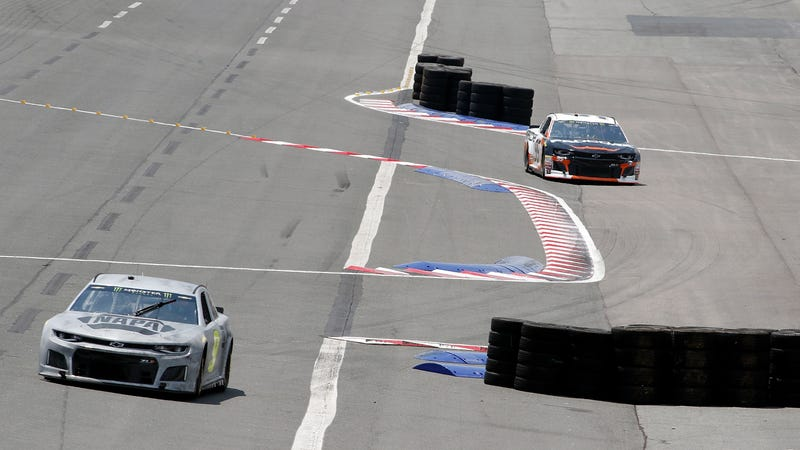 Monster Energy NASCAR Cup Series drivers Chase Elliott and Kasey Kahne testing the roval layout at Charlotte Motor Speedway on July 10.