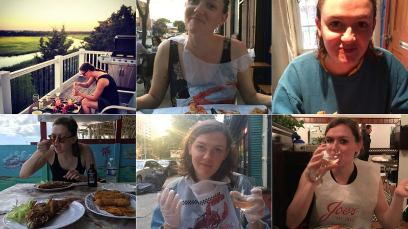 Images of Kate Dries enjoying seafood via an anonymous donor.