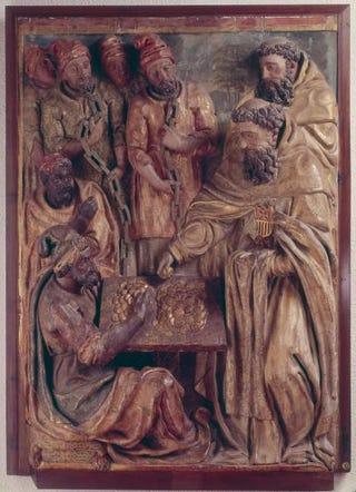 Pedro de la Cuadra, Mercedarians redeeming prisoners, panel from a dismembered altarpiece. Circa 1599, 165 by 116 cm.Museo Nacional de Escultura Policromada, Valladolid, Spain