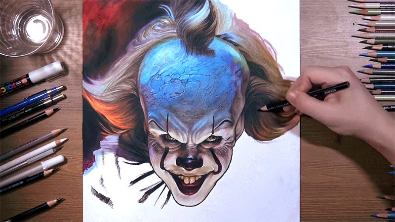 Watch This Illustration of Pennywise Come to Life Right Before Your Eyes—and Then Run Screaming
