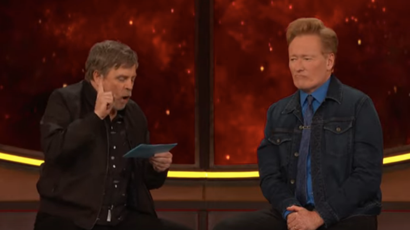Conan attempts a Comic-Con coup by taking Mark Hamill's geek god quiz