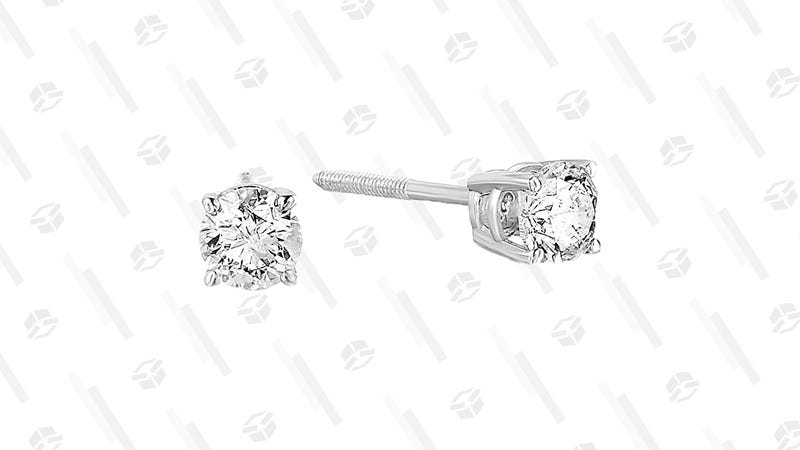 Certified Diamond Stud Earrings with 14K White Gold | $190 | Amazon