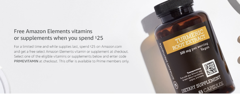 Spend $25, get free vitamins with code PRIMEVITAMIN