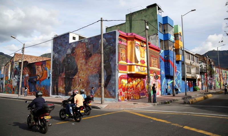 Mural-covered buildings in Bogota, Colombia.