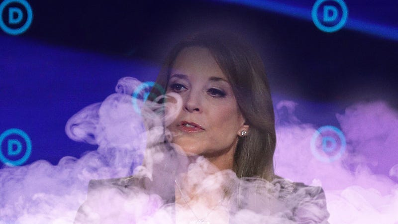 Illustration for article titled Marianne Williamson Materializes On Stage In Cloud Of Purple Smoke With Message That DNC Polling Requirements No Match For Power Of Positive Thinking