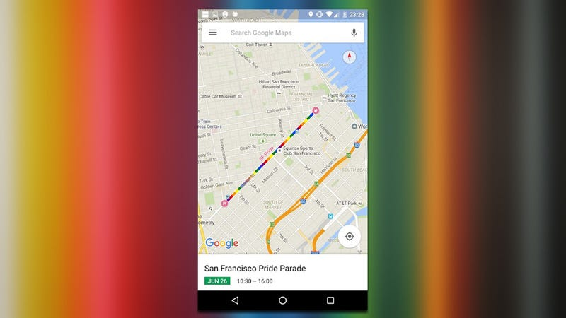 Illustration for article titled Google Maps Adds Pride Parade Routes to Traffic Data This Weekend