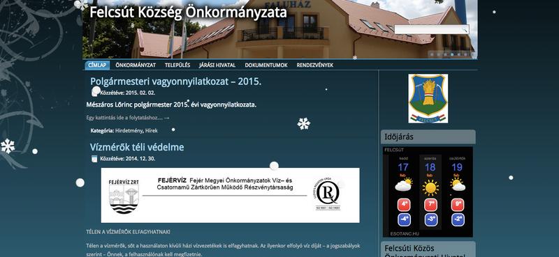 Illustration for article titled Időjárást jelentünk: Felcsút honlapján hullik a hó