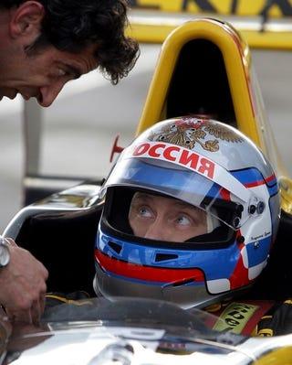 """Illustration for article titled Vladimir Putin Drives F1 Car: Insert """"In Soviet Russia"""" Joke Here"""