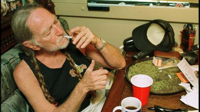 Willie Nelson partakes of his morning coffee in a photo from the early 2000s.