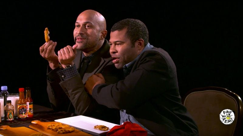 Illustration for article titled Watch Key and Peele do an interview while eating increasingly hot wings