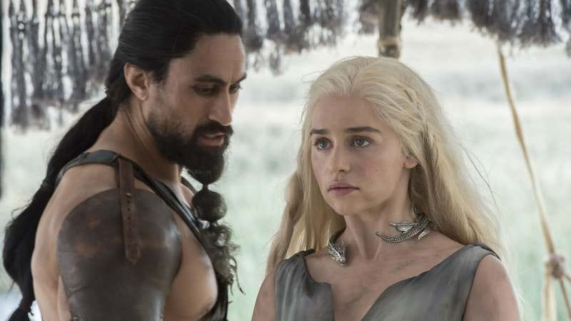 Joe Naufahu, Emilia Clarke (Photo: Macall B. Polay/HBO)