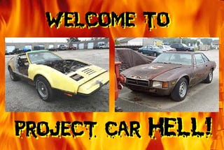 Illustration for article titled Project Car Hell, Best Of 1974 Edition: De Tomaso Longchamp or Bricklin SV-1?