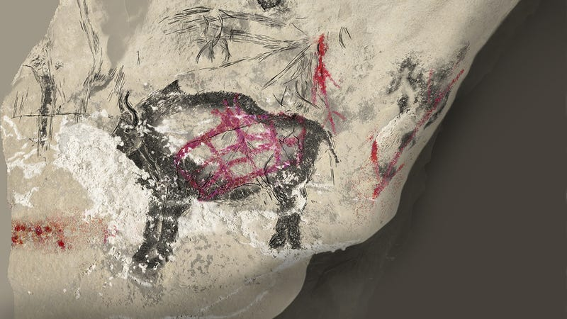 A previously unknown hybrid species—the mysterious ancestor of the modern European bison. This art appears  in the Marsoulas cave in Haute-Garonne, France. (Image: Carole Fritz)