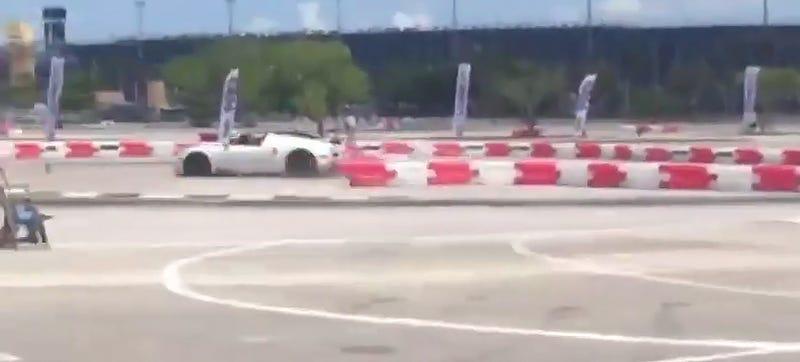 Illustration for article titled $2 Million Bugatti Driver Crashes On Kart Course