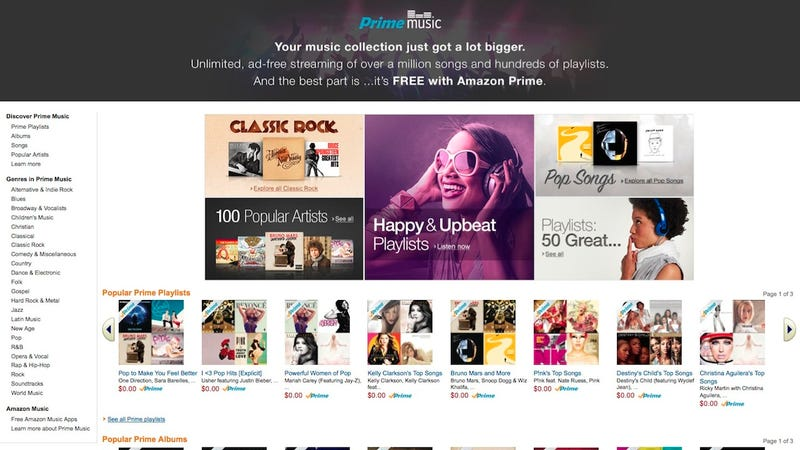 Illustration for article titled Amazon Unveils Amazon Prime Music, a New Ad-Free Streaming Service