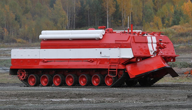 "Illustration for article titled Russia's Huge ""Robot"" Firefighting Tank Is Being Put Into Army Service"