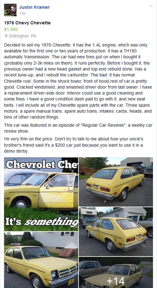 Illustration for article titled PSA: The Chevette that 'Regular Car Reviews' Reviewed is For Sale