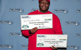 Kenneth J. Stokes beat odds of 1 in 9.7 trillion to win twice in one lottery drawing. He could have chosen to receive a $25,000 annuity from each of his two winning tickets but opted for a one-time payout totaling $546,000.ABC