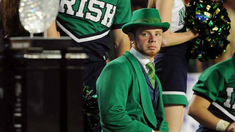 Notre Dame's Fighting Irish mascot, sad as hell (Getty images)
