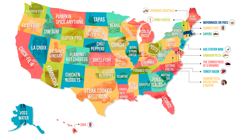 Illustration for article titled This map of each state's most-hated food is equal parts amusing, suspect, and cheese