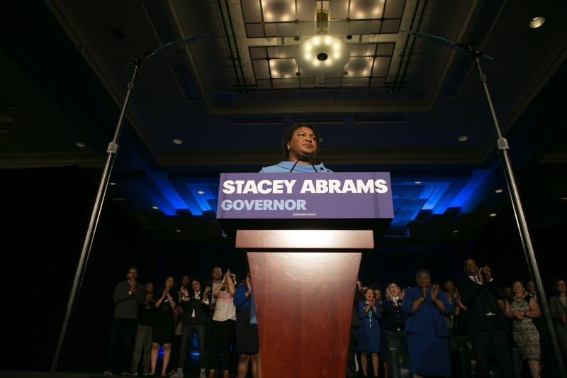 Democratic Gubernatorial candidate Stacey Abrams addresses supporters at an election watch party on Nov. 6, 2018, in Atlanta.