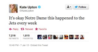 Illustration for article titled Kate Upton Throws Some Shade At Notre Dame And The Jets During BCS Championship