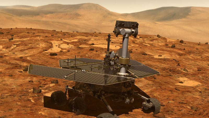 An artist's concept of Opportunity on Mars