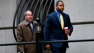 William Porter (right), one of six Baltimore City police officers charged in connection with the death of Freddie Gray, walks to a Baltimore courthouse with his attorney Joseph Murtha on Nov. 30, 2015, for jury selection in his trial, for which a judge declared a mistrial Dec. 16, 2015.Rob Carr/Getty Images
