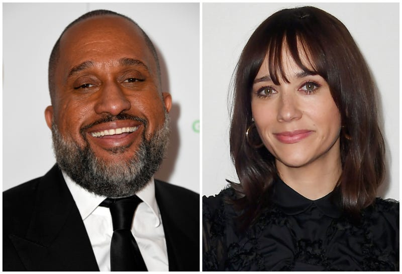 Kenya Barris attends the 30th annual Producers Guild Awards on January 19, 2019 in Beverly Hills, California; Rashida Jones attends the Tribeca Talks - Storytellers at the 2019 Tribeca Film Festival on May 01, 2019 in New York City.