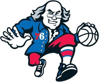 Illustration for article titled Ballin' Ben Franklin Probably Won't Be The 76ers' New Logo